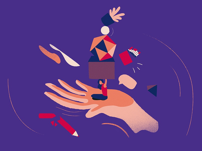 Balance shapes abstract hand vector graphic illustration