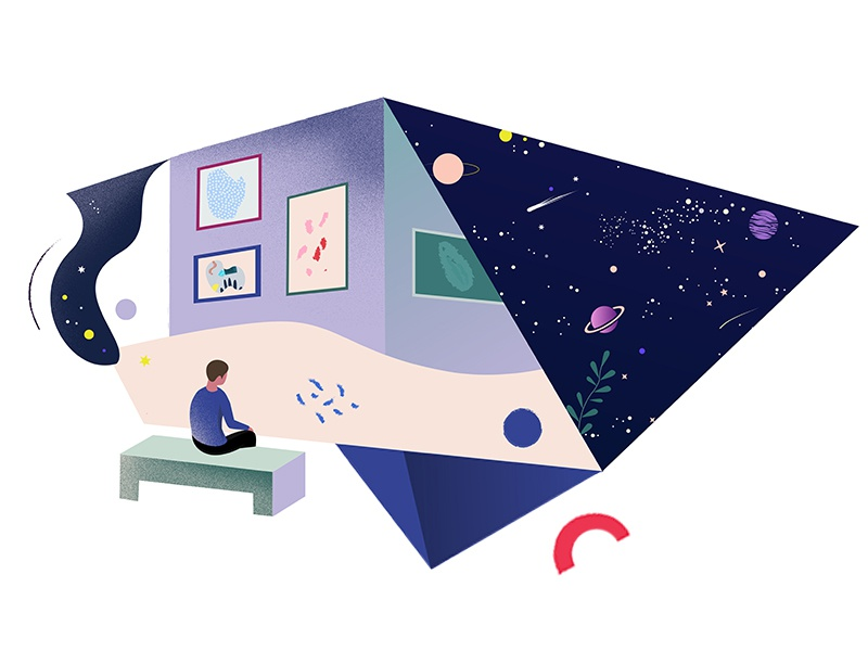Museum planet stars universe abstract museum vector graphic illustration