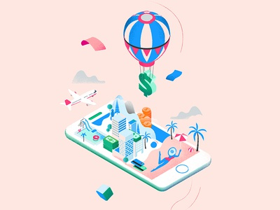 Travel And Money sea town travel isometric iphone vector graphic illustration