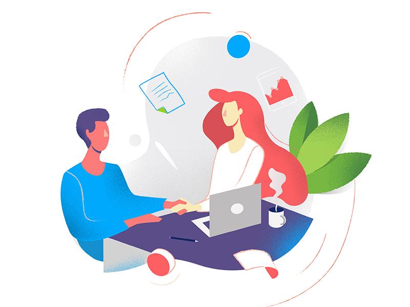 Interview boy girl plants interview job vector graphic illustration