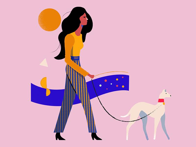 Aviapark Dog dog pink girl shapes character vector graphic illustration