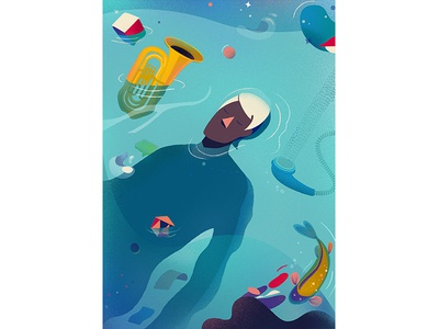 Deep In Thought magazine editoral fish music guy thought deep water painting abstract shapes character vector graphic illustration