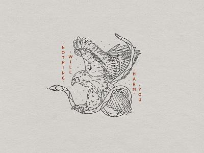 Nothing Will Harm You art lettering vintage custom handmade t-shirt typography hand drawn illustration design