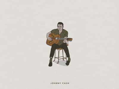 Johnny Cash spot illustration johnny cash vintage custom handmade hand drawn illustration design