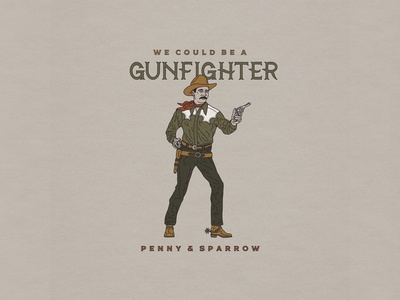 Gunfighter lettering western vintage custom t-shirt handmade typography hand drawn illustration design