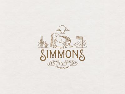 Simmons Equine & Cattle Co. branding design brand identity logo branding typography hand drawn illustration design