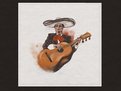 Mariachi custom illustration watercolor mariachi custom handmade hand drawn illustration design