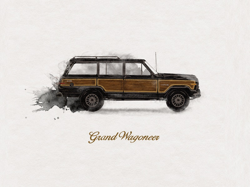 Grand Wagoneer watercolor illustration watercolor jeep grand wagoneer custom handmade hand drawn illustration design