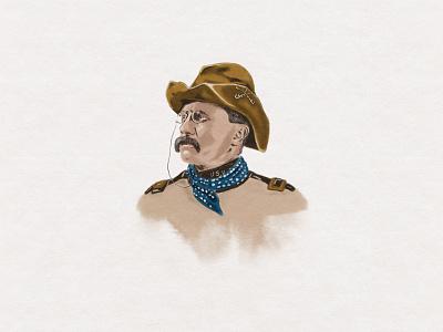 Roosevelt portrait president roosevelt watercolor branding custom handmade hand drawn illustration design