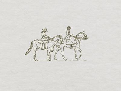 Couple on Horses cowboy western branding t-shirt custom handmade hand drawn illustration design