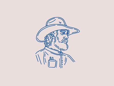 Pilgrim vintage cowboy western logo branding custom handmade hand drawn illustration design