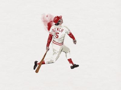 Johnny Bench baseball illustration watercolor baseball johnny bench branding custom handmade hand drawn illustration design