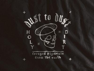 Dust to Dust Label package design branding custom typography handmade hand drawn illustration design skeleton dust to dust label design label
