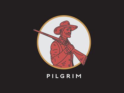 Pilgrim logo hand drawn vintage illustration cowboy western branding design pilgrim