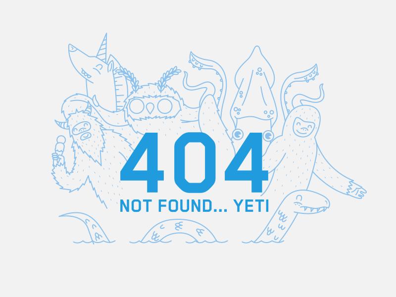 404 error  yeti unicorn moth man giant squid big foot nessy