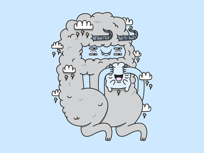 Cloud Baby and Mama baby horns illustration illustrator cloud monster