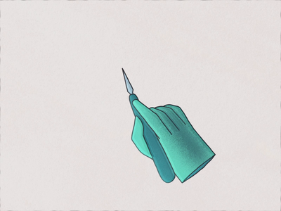 Surgery scalpel incision animation