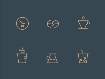 Coffee Icons coffee hot cold brew aged vector bleed ink trap icons illustration mono