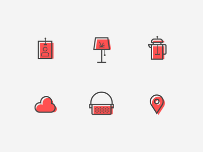 All of the Internet Things offset beacon cloud lamp coffee device things iot web illustration icon
