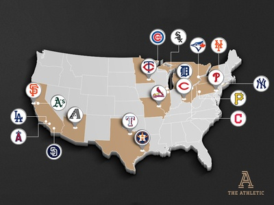 The Athletic Baseball News Coverage Map