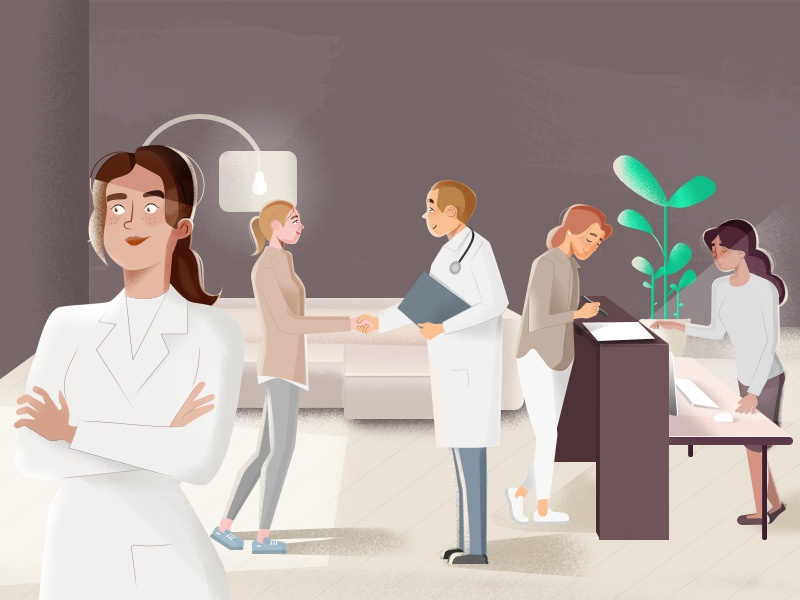 Medical waiting room illustration  illustration people ambiance medicine