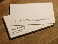 Broadway Hardware business cards front side