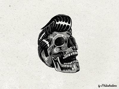 Rockabilly Skull elvis mangastudio photoshop illustrator design illustration skull
