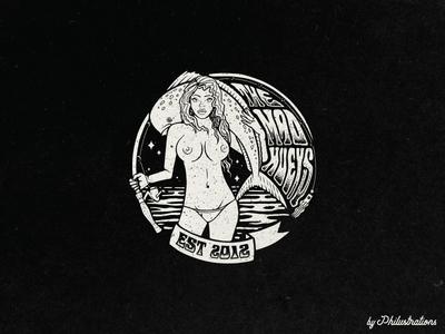 Bewbs and Fishing art nautical fishing illustration design blackandwhite fish women