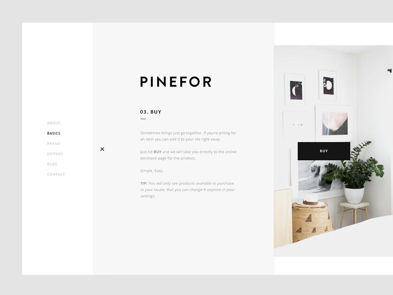 Pinefor About about landing steps menu navigation basics product buy