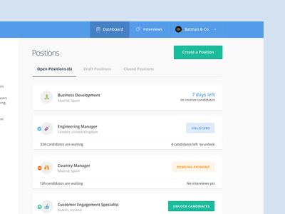 Recruiter recruiter jobs offer position list dashboard drafts create interviews