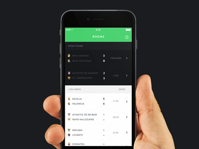 Loud App loud app ios green football match room chat goals shield