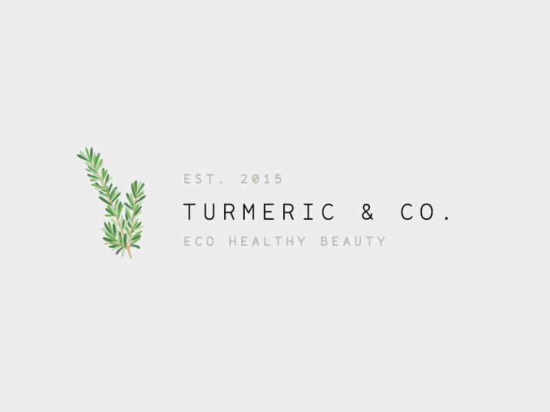 Turmeric & Co. healthy beauty eco brand logo leaf identity blog