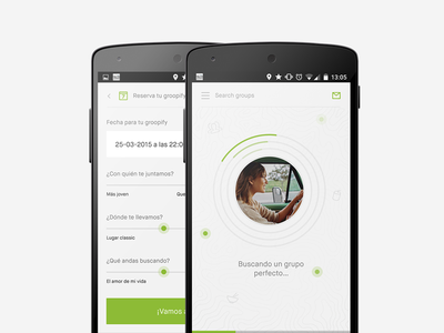 Redesign Android app android redesign mobile group loading search settings preferences user dating radar