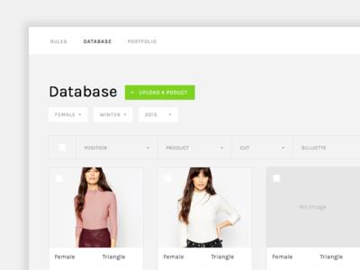 Database Dashboard dropdown fashion web dashboard database