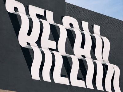 RELAX Mural monogram silkscreen murals graffiti painting grafitti typography mural lettering brightwalls michigan