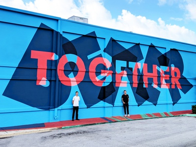 Better Together Mural w/ Trevor Wheatley graffiti painting grafitti typography mural lettering