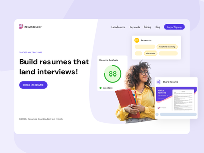 New Landing Page for Resumepuppy webdesign ui resumepuppy ai resume redesign landingpage