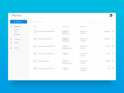 Documents Dashboard dashboard refresh signeasy homepage webapp debut