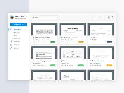 SignEasy's Dashboard documents webapp dashboard thumbnail signature digital signeasy