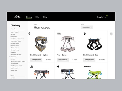 Outdoor Sportsgear UI items overview ux product grid products page climbing ui
