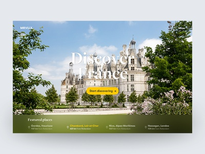 Discover France — Landing page & home page travel france explore header design landing  page ux ui