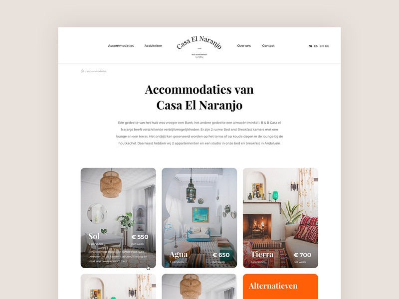 Accommodations - Casa El Naranjo accommodations cards webdesign bed  breakfast ux ui