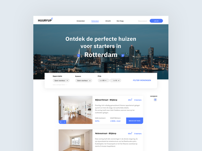 HUURYUP cards filter rent price houses rotterdam blue interface ui  ux estates estate webdesign