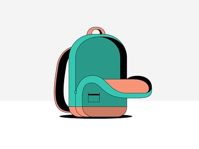 Empty backpack black line filled orange-ish green empty rebound backpack illustration