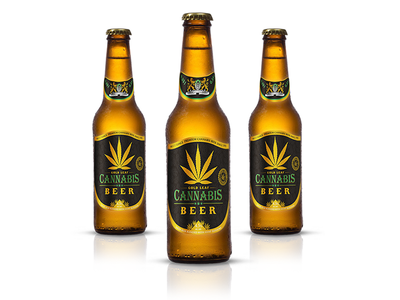 Gold Leaf brand - Cannabis beer logo brand package design design