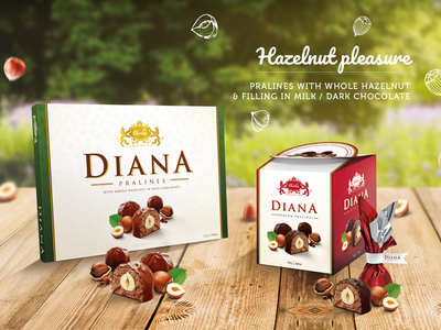 Diana - chocolate pralines with hazelnut box graphic package mock-up design carla pralines hazelnut chocolate