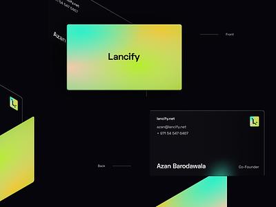 Lancify Business cards mockup design isometric design blur clean dark gradients figma concept branding business cards