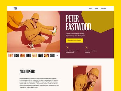 Yela Celebrity Shoutout Platform Exploration ✨ uidesign typography dancer celebrity webdesign