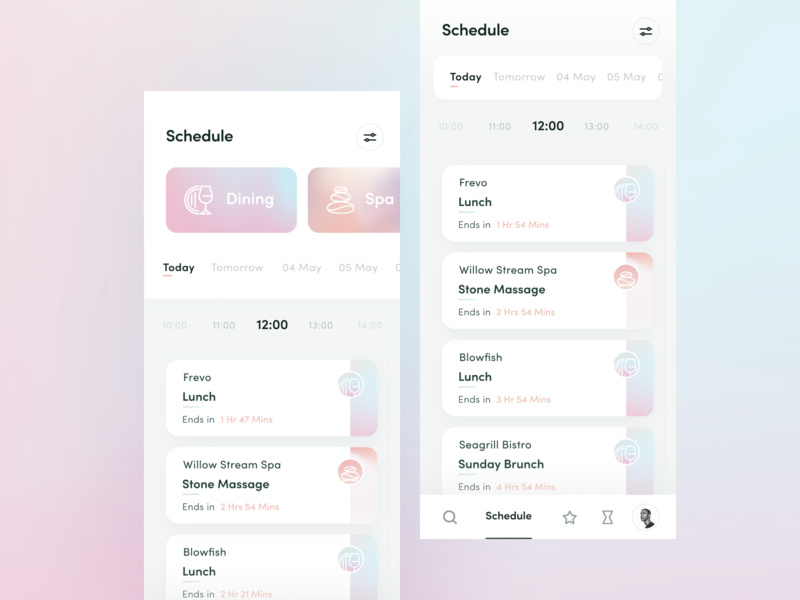 Activity Schedule feature exploration - Staytus event app hotel planner schedule activity clean gradient color ux ui design app