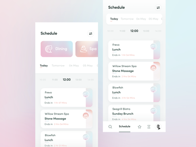 Activity Schedule feature exploration - Staytus event app hotel planner schedule activity clean gradient color ux ui design app